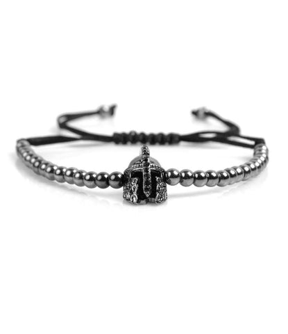 Spartan Platinum Black CZ Charm Bracelet - The Dapper Man