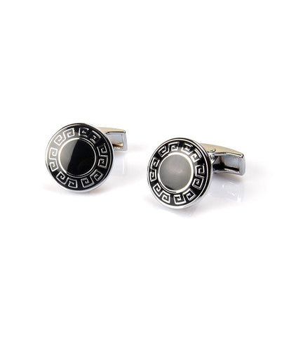 Silver & Black Round Greek Cufflinks