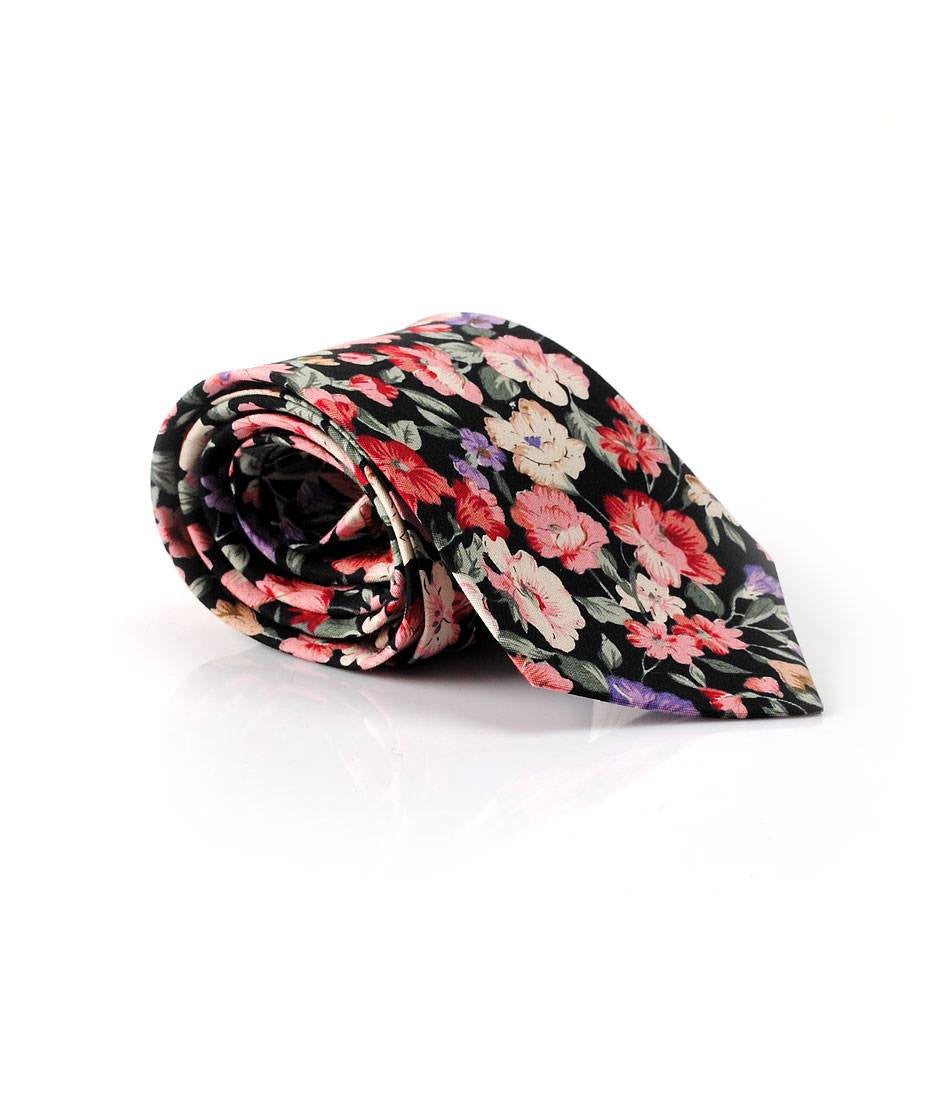 Black FLoral II Neck Tie - The Dapper Man