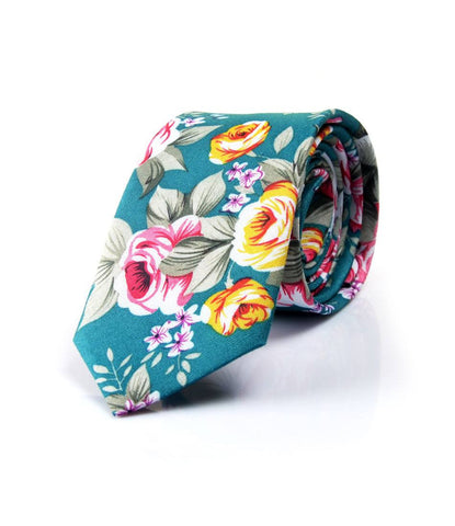 Rich Sea Green Floral Neck Tie - The Dapper Man