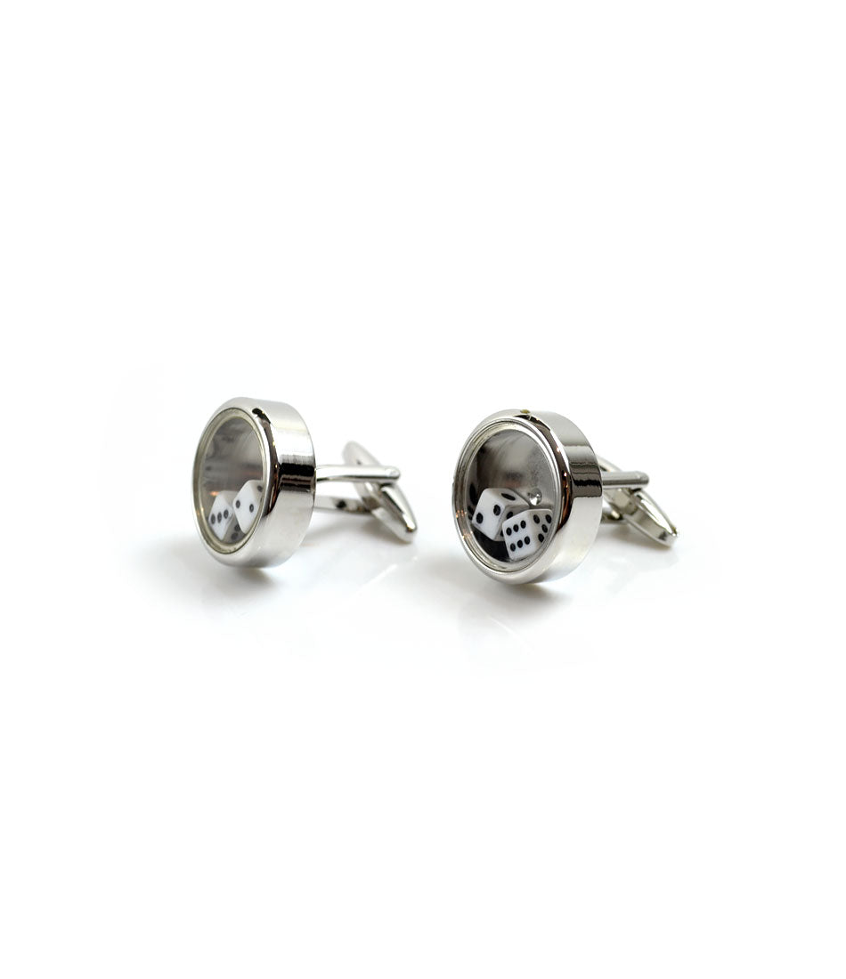the dapper man -Moving Dice Silver Cufflinks
