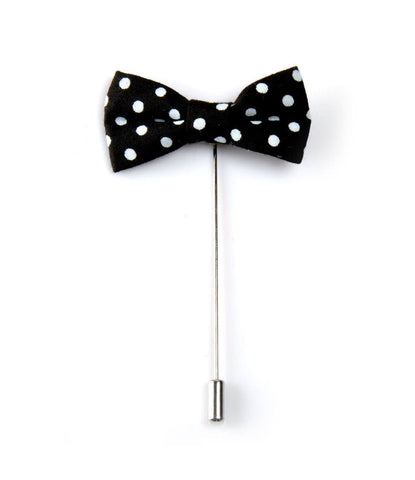 Black Polka Bow Lapel Pin - The Dapper Man