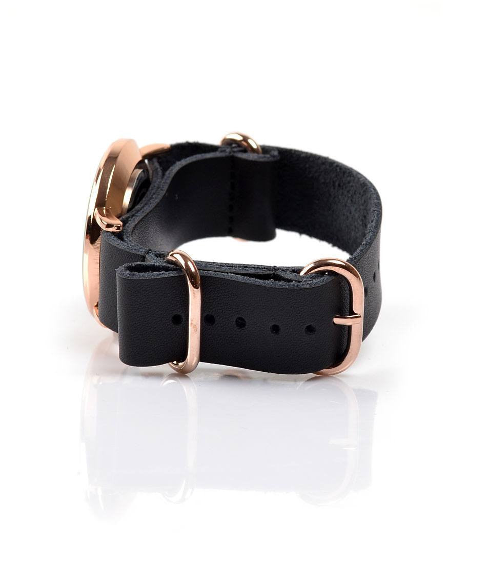 NATO Strap - Leather Black - The Dapper Man