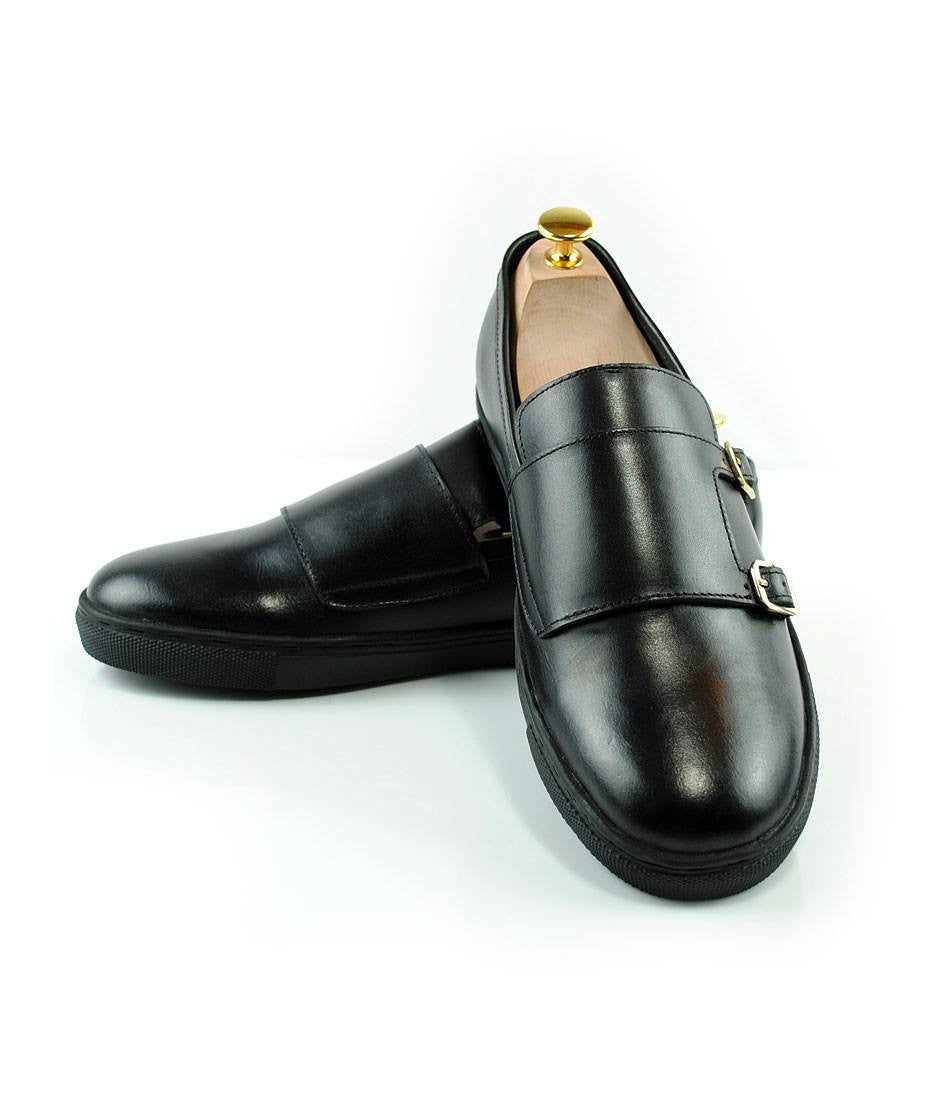Double Monk Leather Sneakers - Black - The Dapper Man