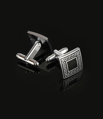 Silver & Black Greek Cufflinks - The Dapper Man