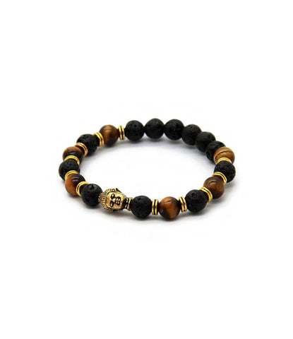 Tiger Eye & Lava stone Bronze Buddha Charm Bracelet - The Dapper Man