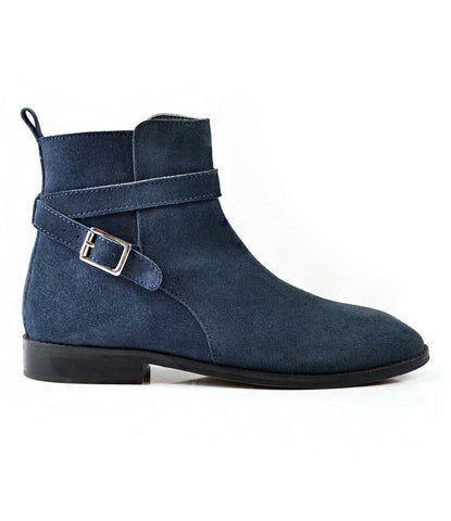 Blue Suede Jodhpur Boot - The Dapper Man