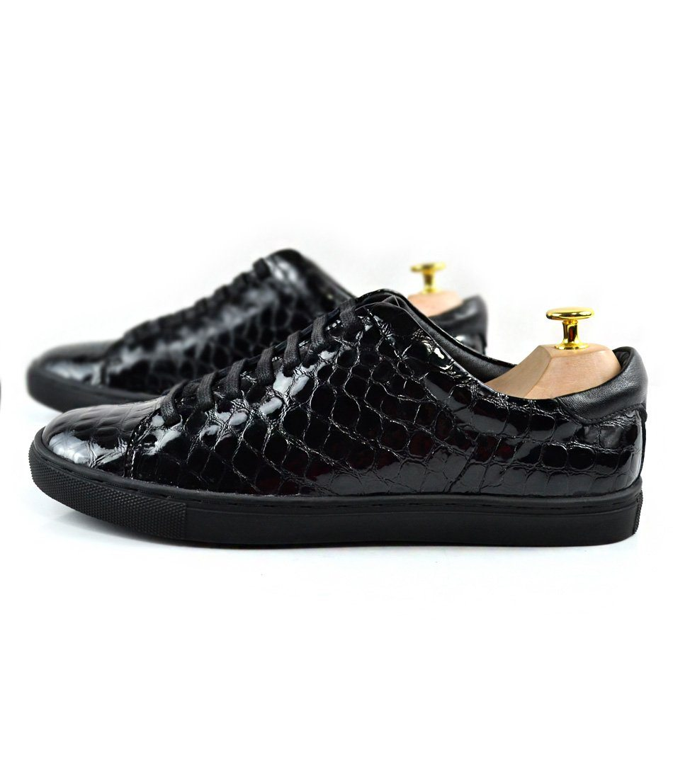 Patent Croco Leather Low-top Sneakers - The Dapper Man