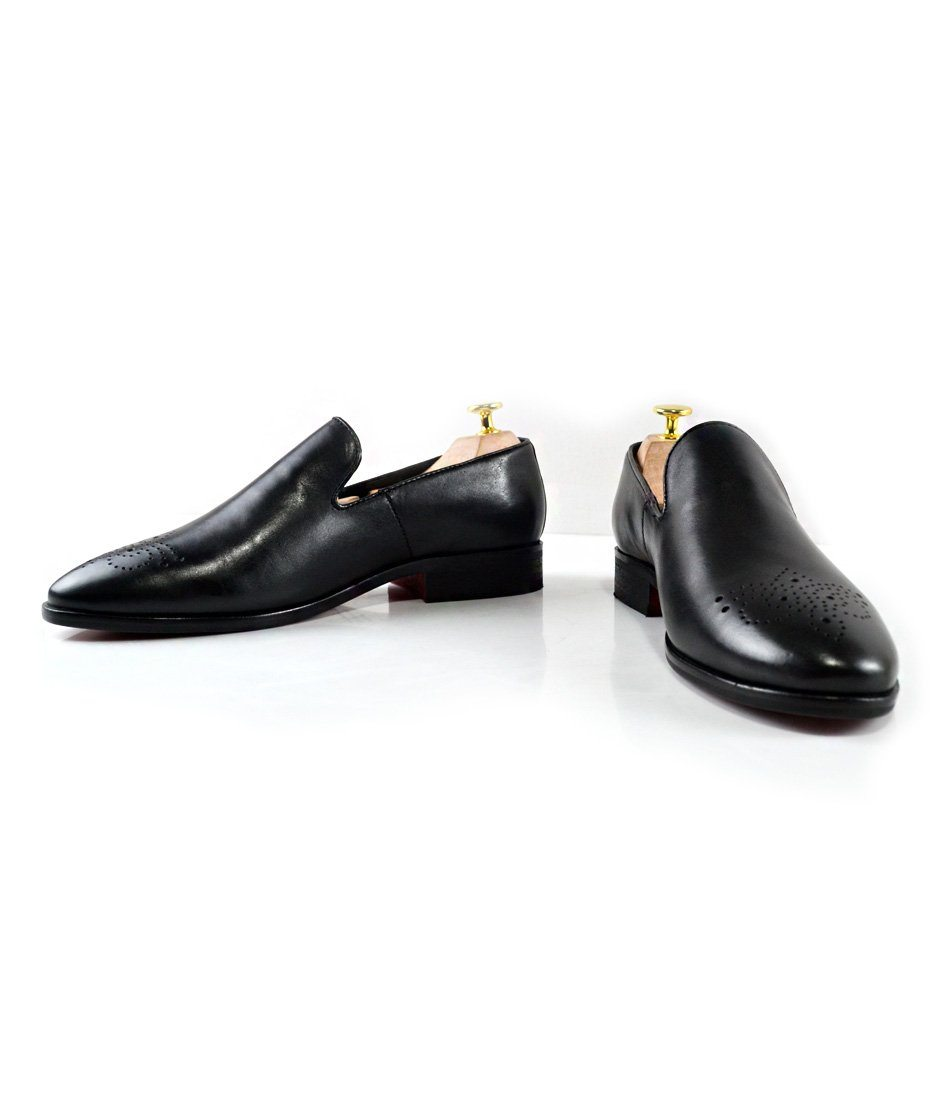 Leather Medallion Toe Loafers - The Dapper Man