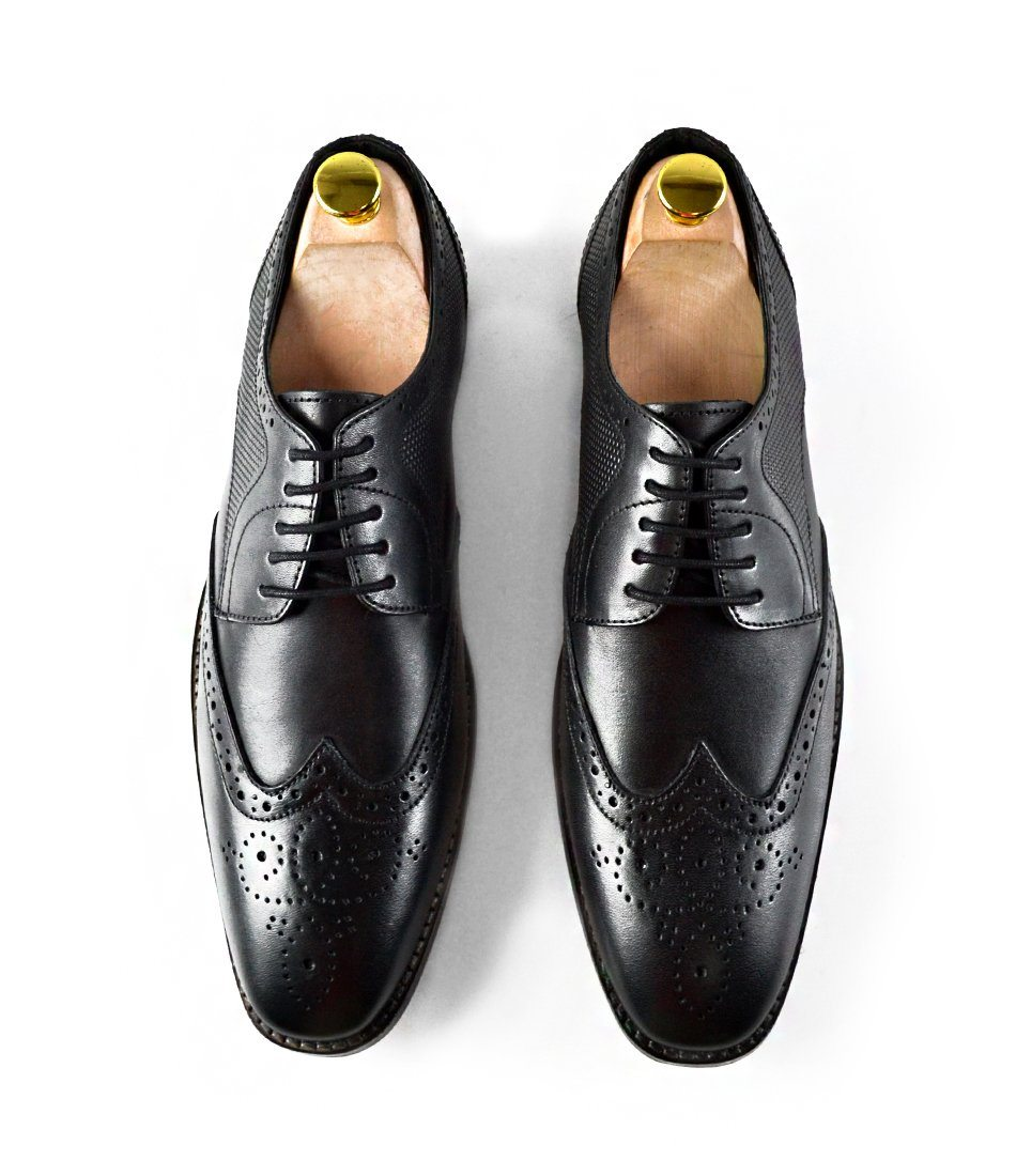 Full Brogue Derby - Black - The Dapper Man