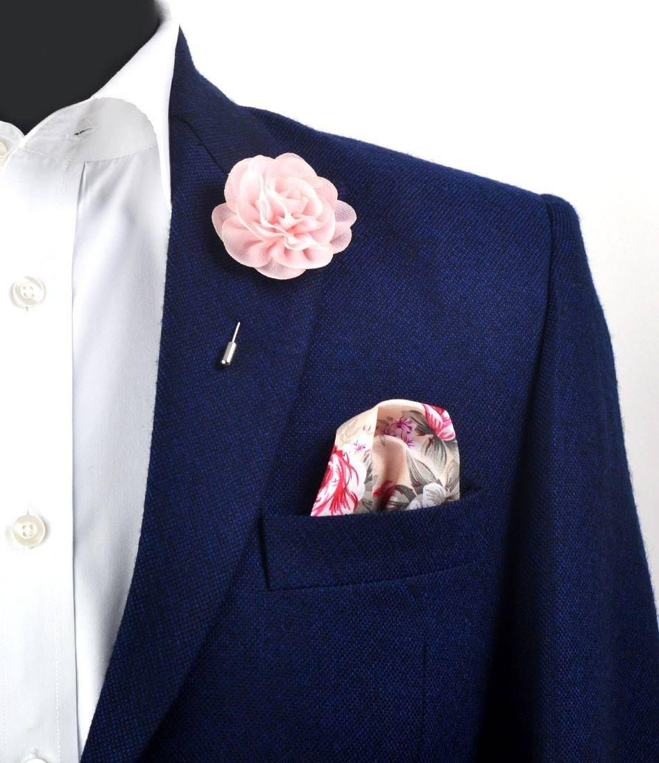 Baby Pink Flower Lapel Pin - Big - The Dapper Man