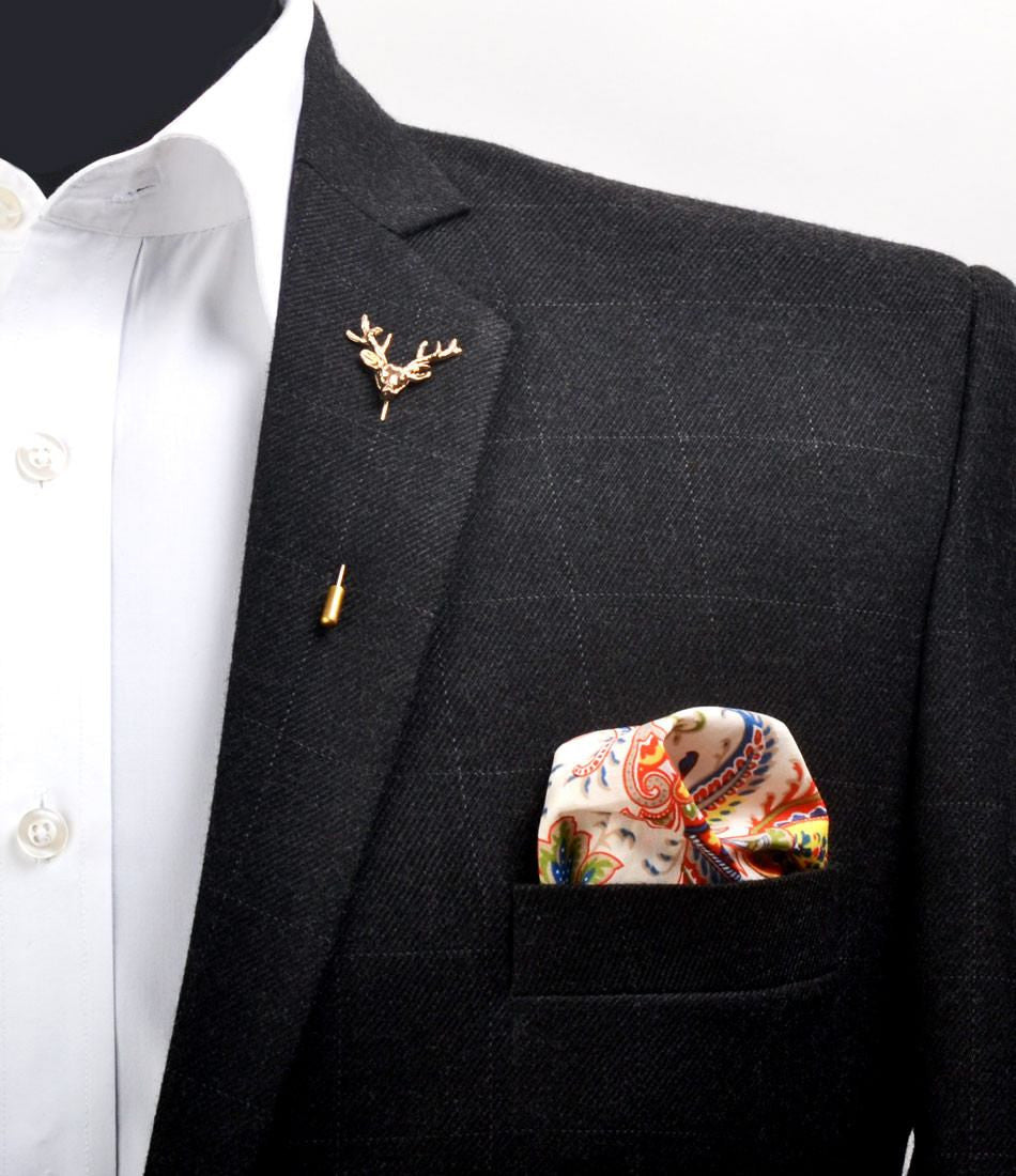 Golden Antler Metal Lapel Pin - The Dapper Man