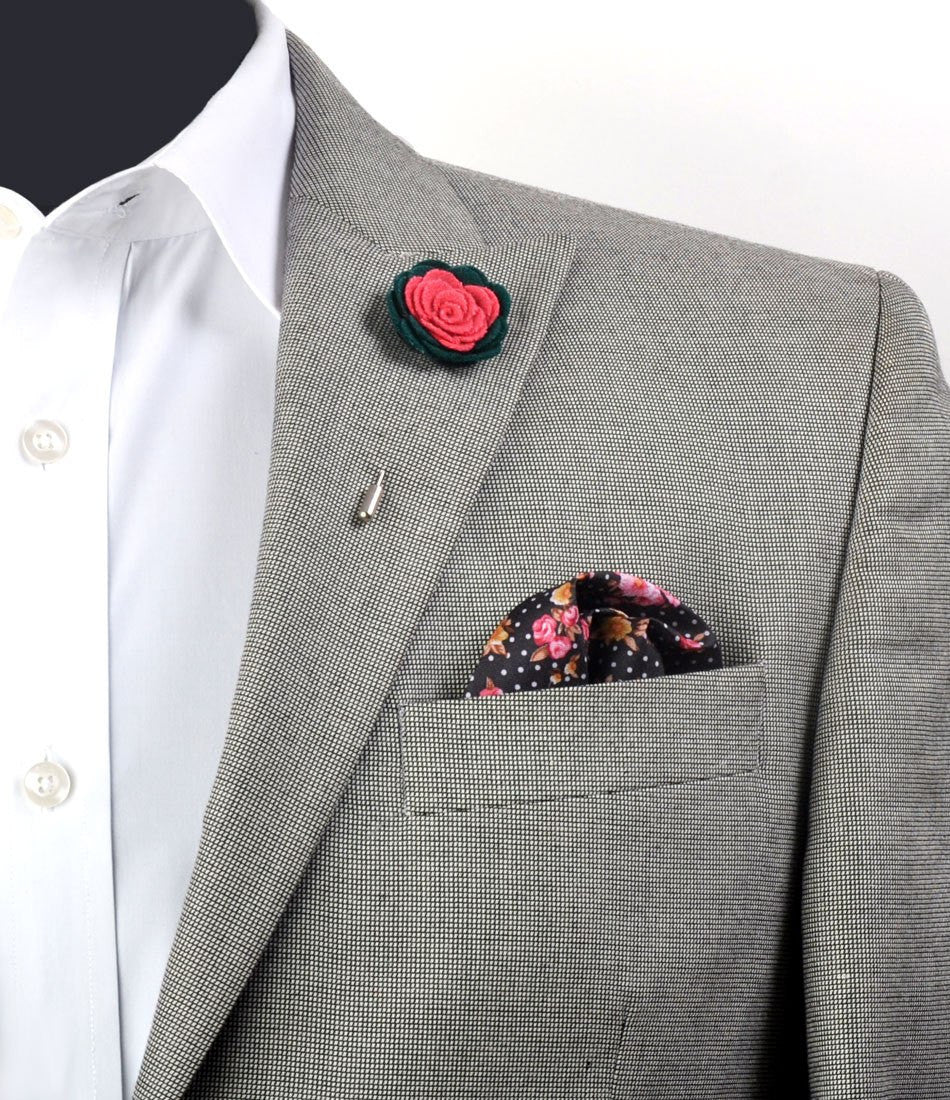 Green & Pink Rosette Lapel Pin - The Dapper Man