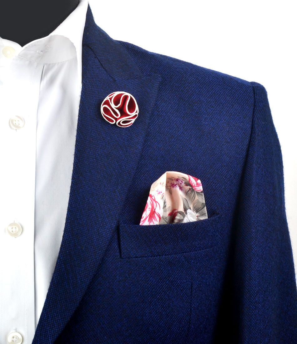 Dark Red With White Border Flower Lapel Pin - The Dapper Man