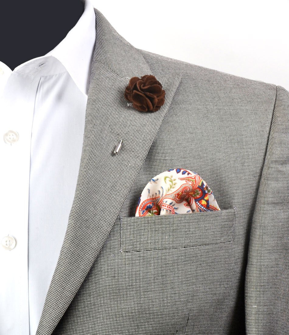Chocolate Brown Plush Flower Lapel Pin - The Dapper Man