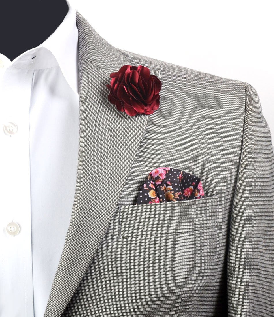Burgundy Petals Flower Lapel Pin - Big