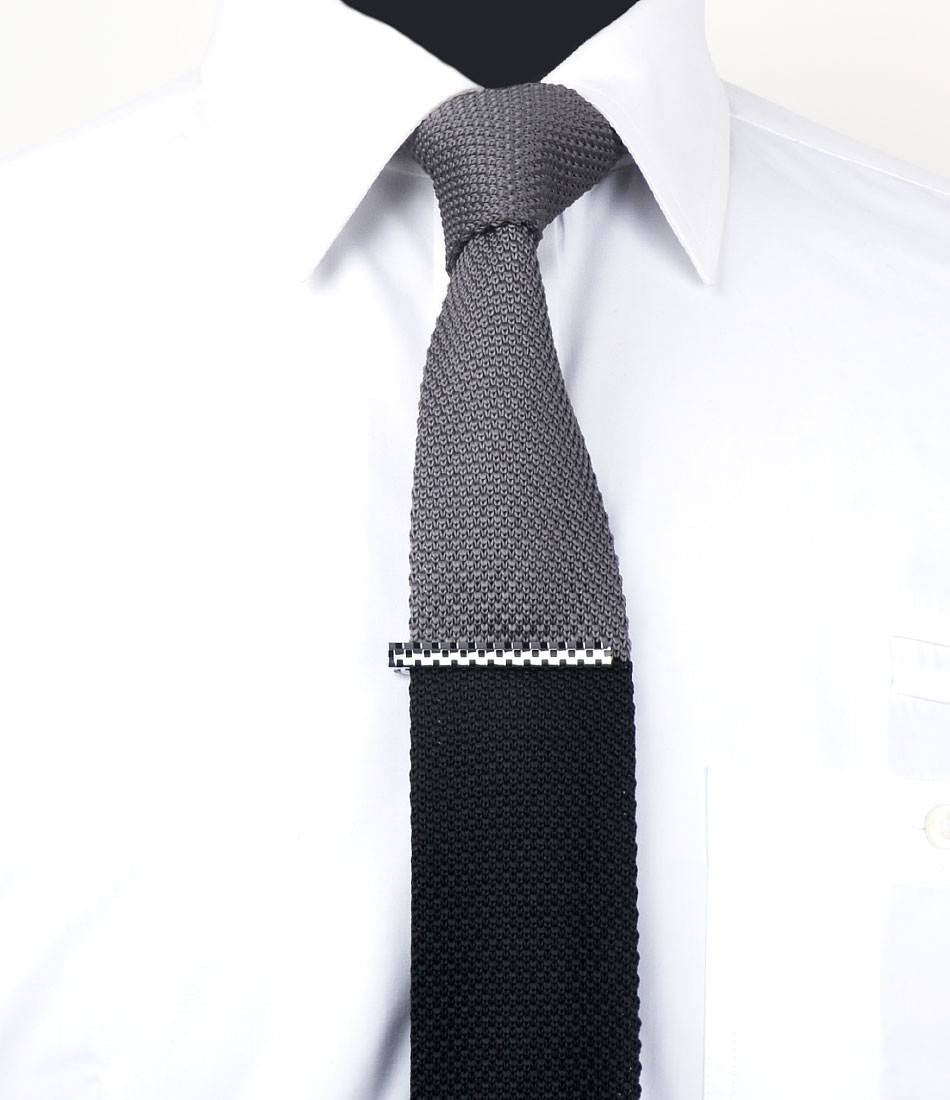 Silver & Black Chequered Tie Bar - The Dapper Man