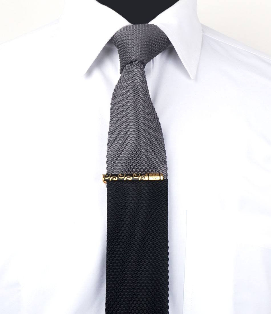Golden with Black Pattern Tie Bar - The Dapper Man