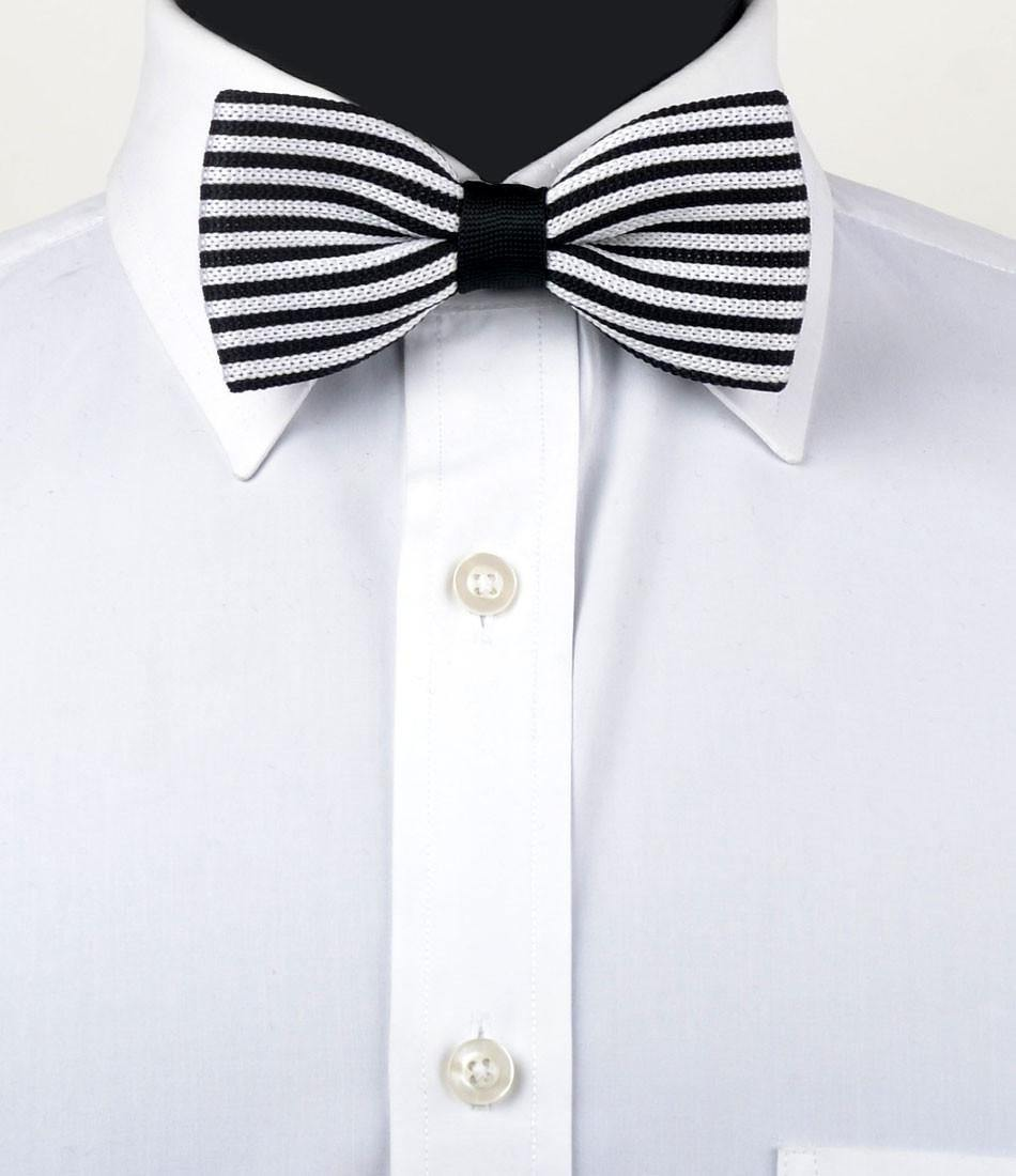 Black & White Stripes Knitted Bow Tie - The Dapper Man