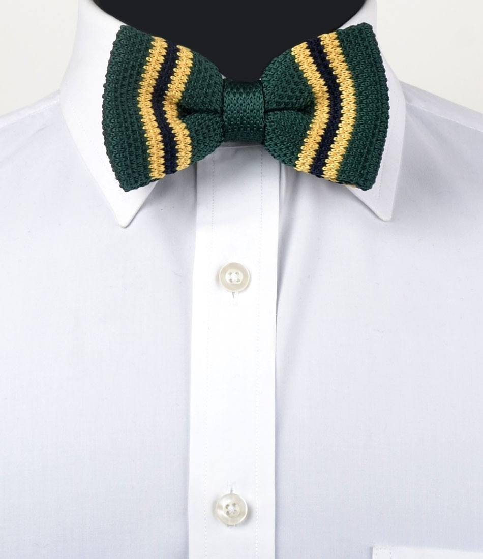 Green with Yellow & Navy Stripes Knitted Bow Tie - The Dapper Man