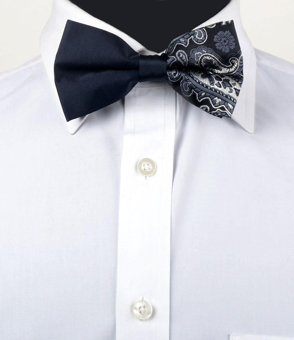 Black Paisley with Solid Black Bow Tie - The Dapper Man