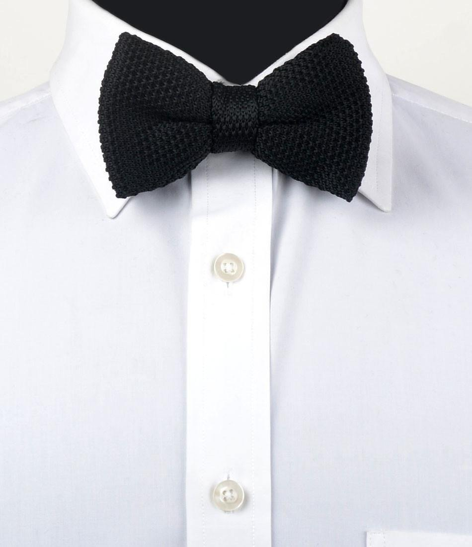 Solid Black Knitted Bow Tie - The Dapper Man