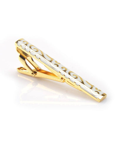 Golden with White Pattern Tie Bar - The Dapper Man