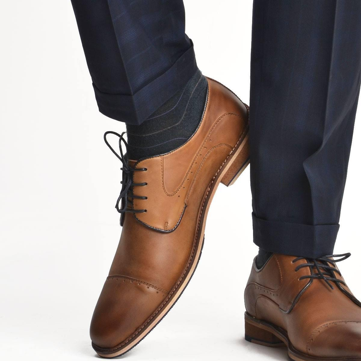 Derby Cap Toe - Brown with Blue Lining