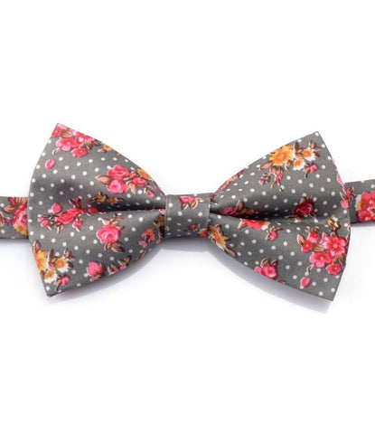 Grey Polka Floral Bow Tie - The Dapper Man