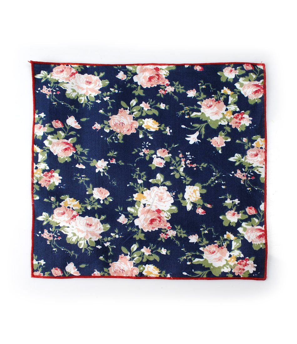 Navy Floral Pocket Square - The Dapper Man