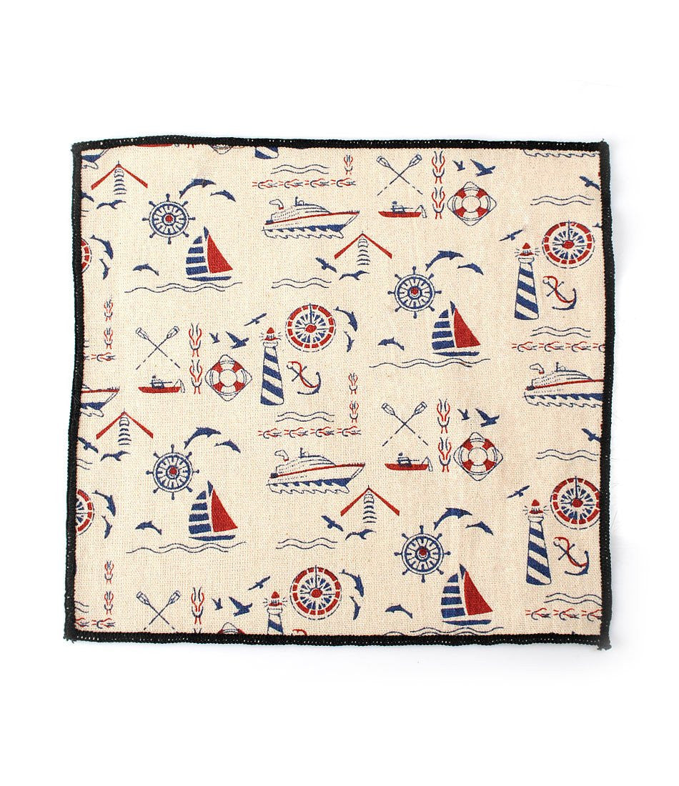 Off white Nautical Pocket Square - The Dapper Man