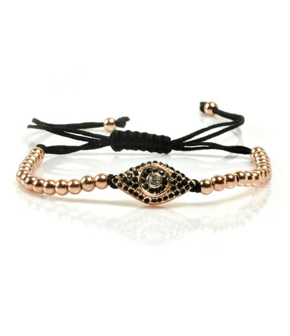 The Dapper Man - Rose Gold Evil Eye CZ Charm Bracelet