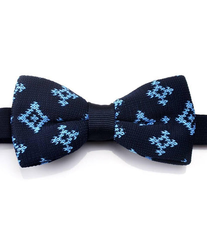 Navy with Light Blue Pattern Knitted Bow Tie - The Dapper Man