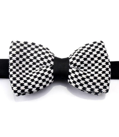 Black & White Chequered Knitted Bow Tie