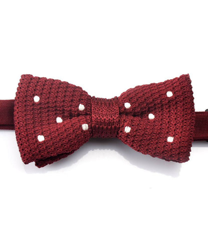 Maroon with White dots Knitted Bow Tie - The Dapper Man