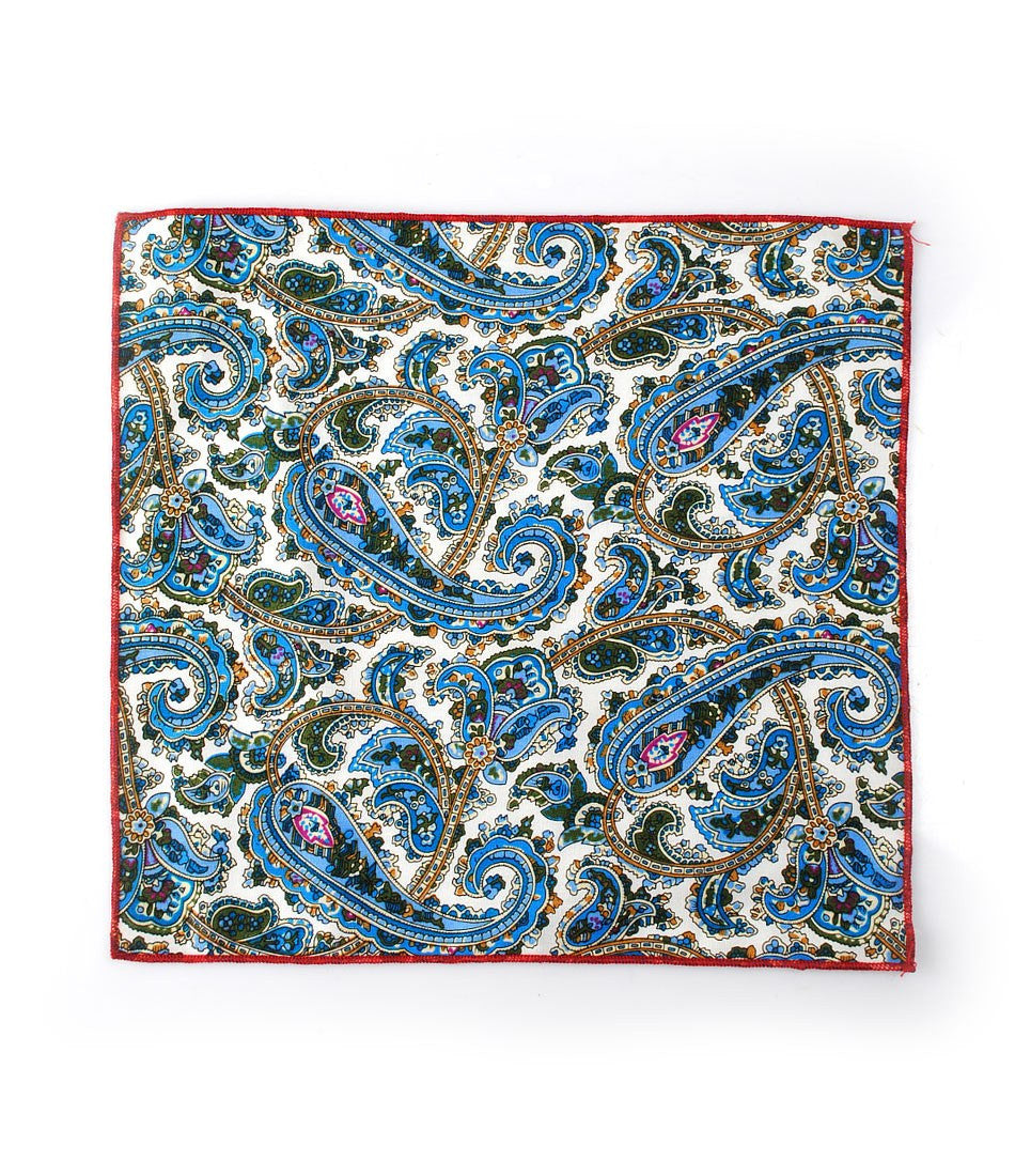 White & Blue Paisely Pocket Square - The Dapper Man