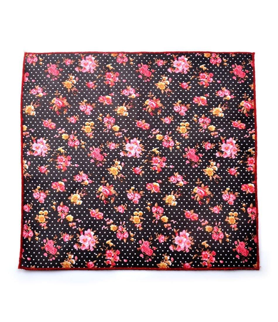 Black Polka Floral Pocket Square - The Dapper Man