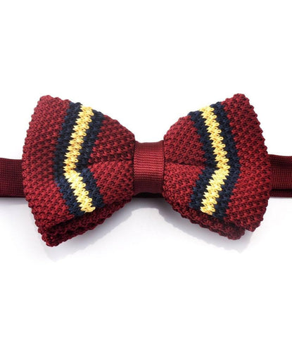 Maroon with Navy & Yellow Stripes Knitted Bow Tie - The Dapper Man