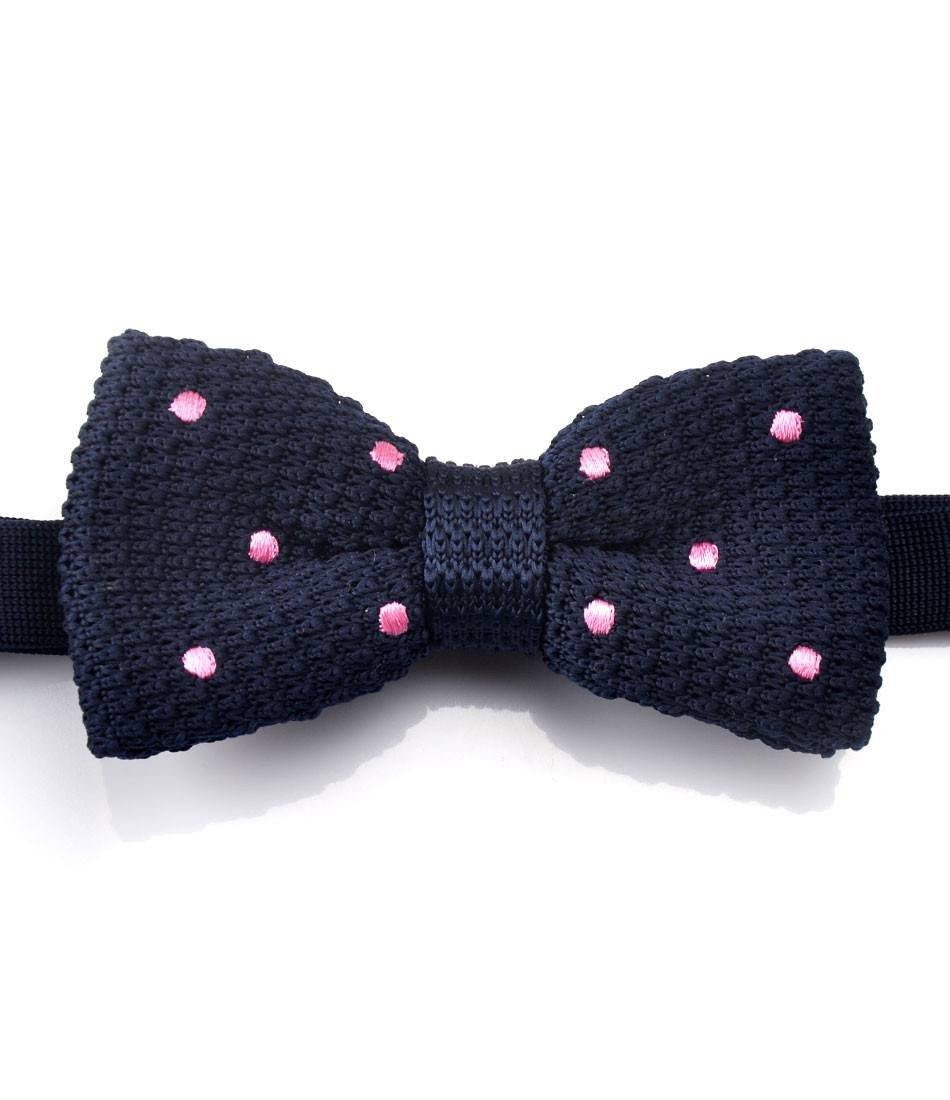 Navy with Pink Dots Knitted Bow Tie - The Dapper Man
