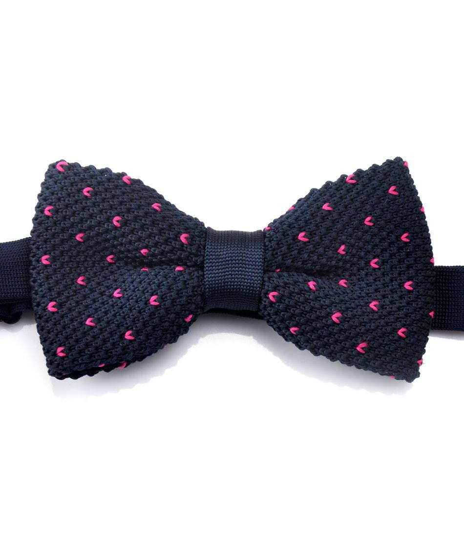 Navy with Pink V Pattern Knitted Bow Tie - The Dapper Man