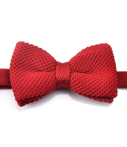 Solid Red Knitted Bow Tie - The Dapper Man