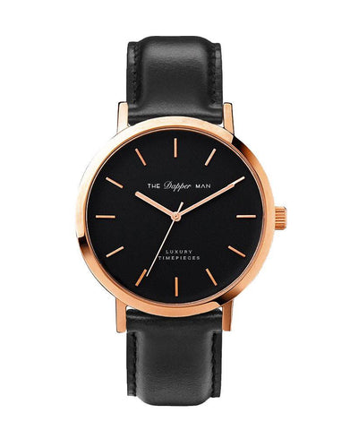 The Dapper Man - London Rose Gold - Black Leather