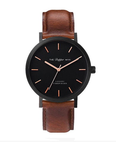 The Dapper Man - London Matte Black - Brown Leather