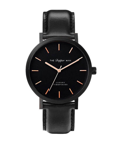 The Dapper Man - London Matte Black - Black Leather