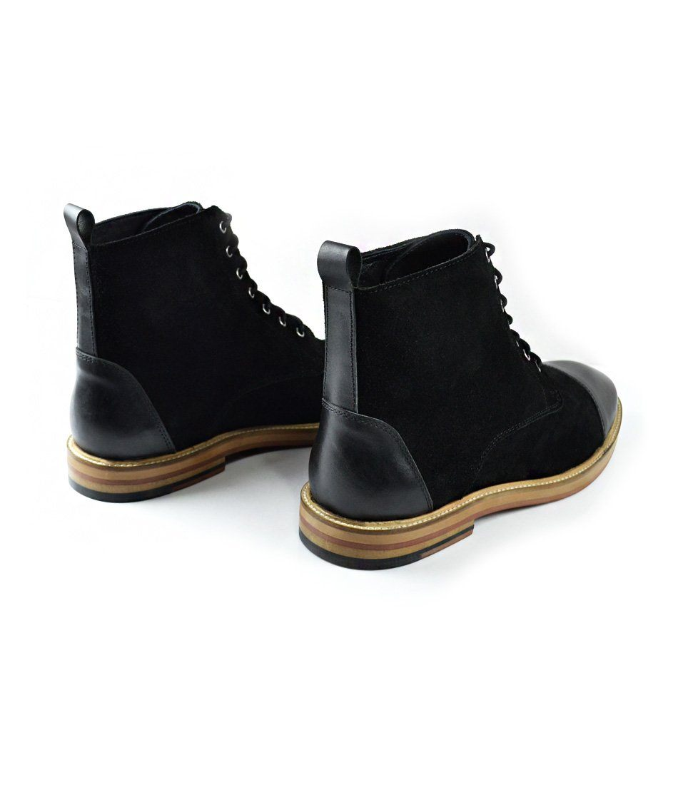 Black Suede Lace-up Boot - The Dapper Man