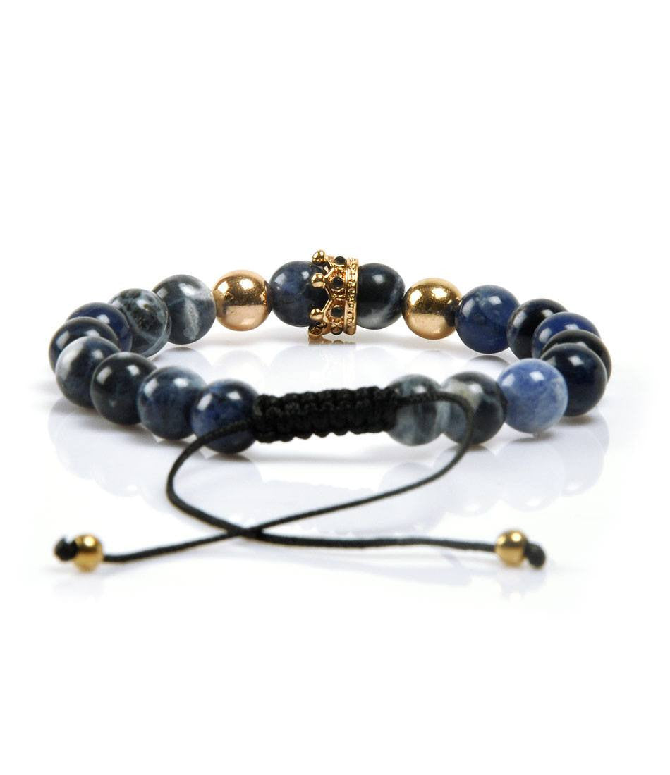 Blue Jasper Golden Crown Charm Bracelet - The Dapper Man