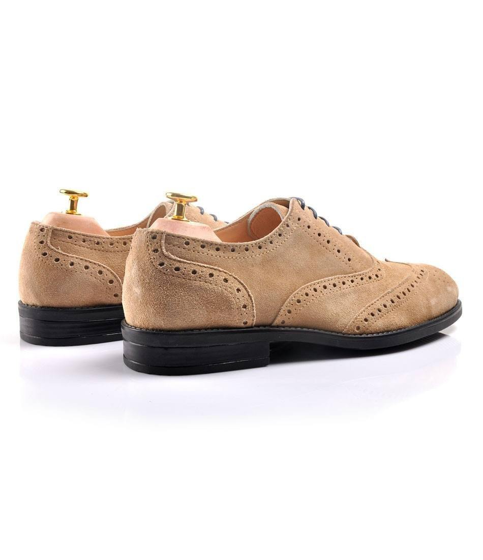 Suede Full Brogue Oxford - Beige - The Dapper Man