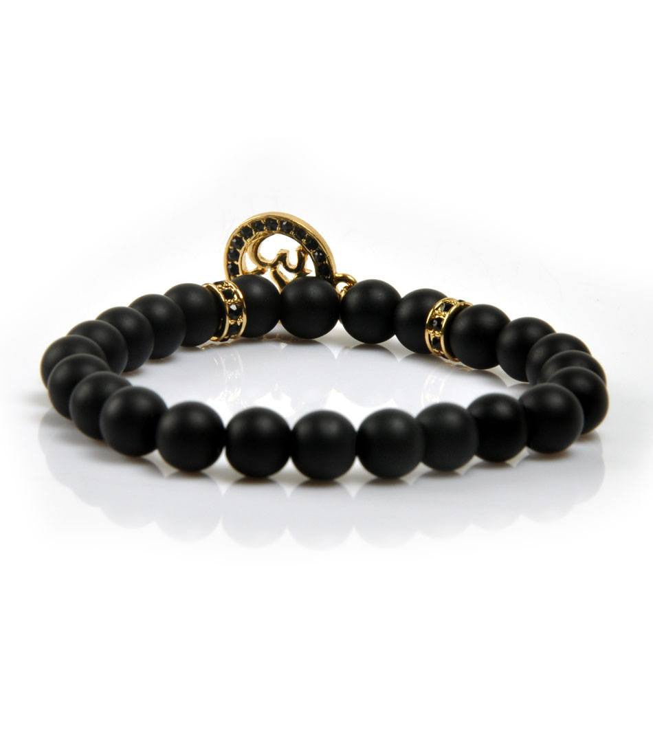CZ Black Agate & Golden Om Charm Bracelet - The Dapper Man