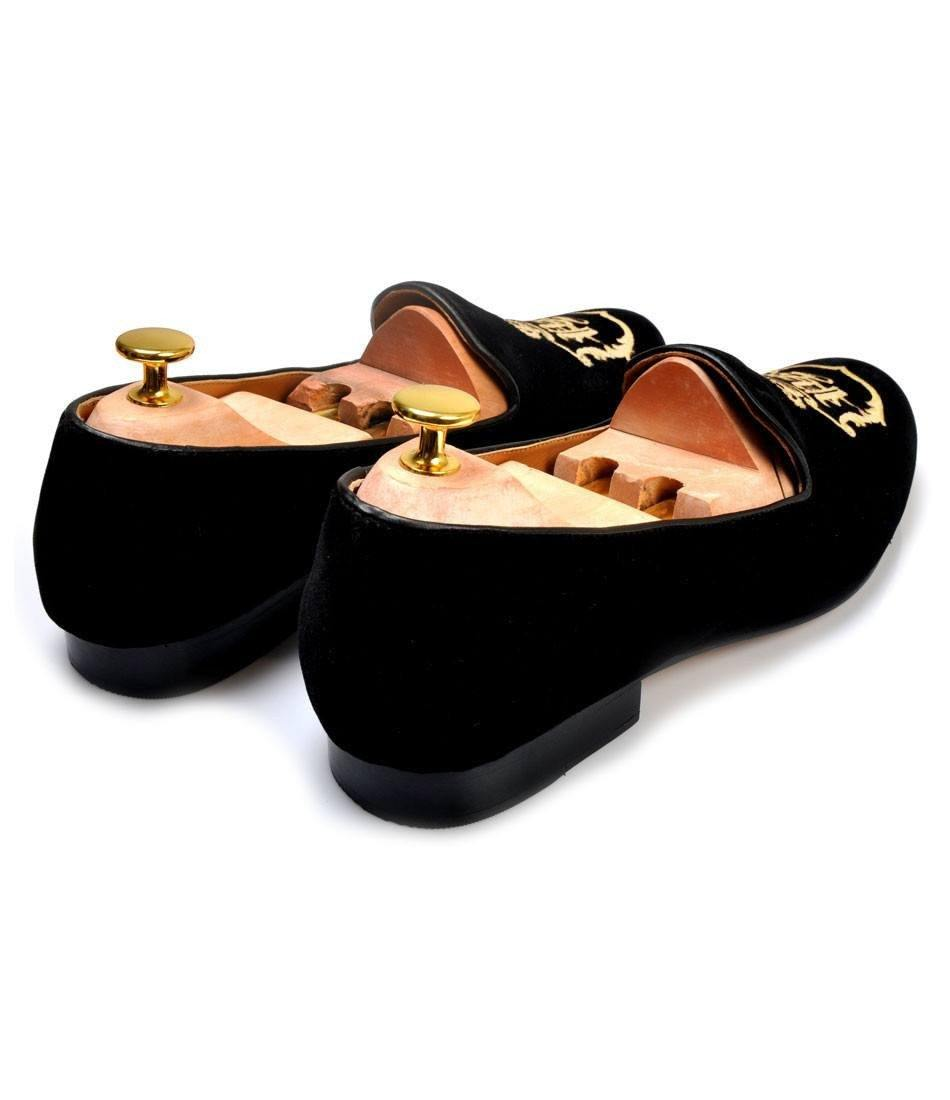 Black Albert Velvet Slippers with Signature Embroidery - The Dapper Man