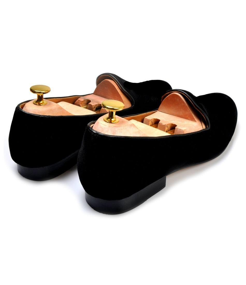 Full Black Albert Velvet Slippers - The Dapper Man
